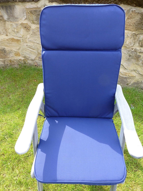 UK-Gardens Navy Blau Garten Möbel Großer Sitz und Back Full Folding Lehnstuhl Arm stuhl Polsterung - Wechselbarer Bezug - Nutzung in Haus oder Garten