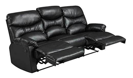 Glory Furniture G453-RS Reclining Sofa, Black
