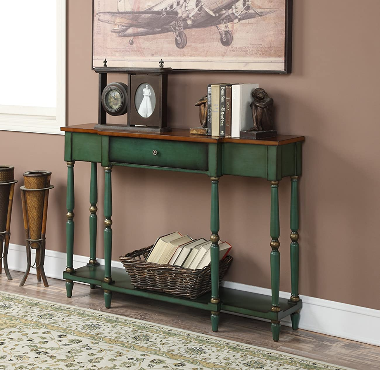 Convenience Concepts Wyoming Two Tone Antique Console Table 2