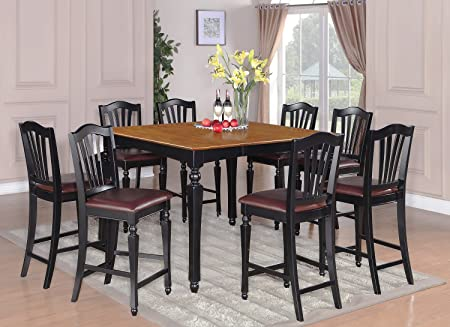 East West Furniture CHEL7-BLK-LC 7-Piece Counter Height Table Set
