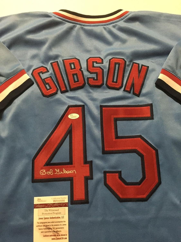 Signed Bob Gibson St. Louis Cardinals Blue Baseball Jersey