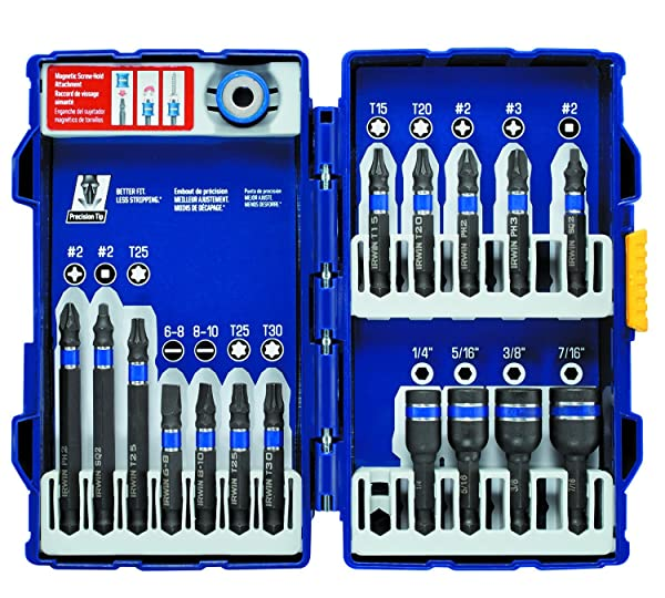 IRWIN Tools IMPACT Performance Series Fastener Power Bits, 17-Piece Set with Pro Case and Magnetic Screw-Hold Attachment (1903768) (Tamaño: 17-Piece)