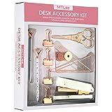 TOODOO Desk Accessory Organization Kit 10 Piece Set, Rose Gold