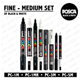 POSCA Black & White - Fine to Medium Set of 8 Pens (PC-5M, PC-3M, PC-1M, PC-1MR)