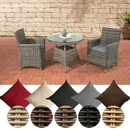 CLP Poly-Rattan Sitzgruppe QUITO, 5 mm Rund-Geflecht, Alu-Gestell (2 Sessel, Tisch rund Ø 90 cm) ideal fur Balkon und Terrasse Rattan Farbe grau-meliert, Bezugfarbe: Eisengrau