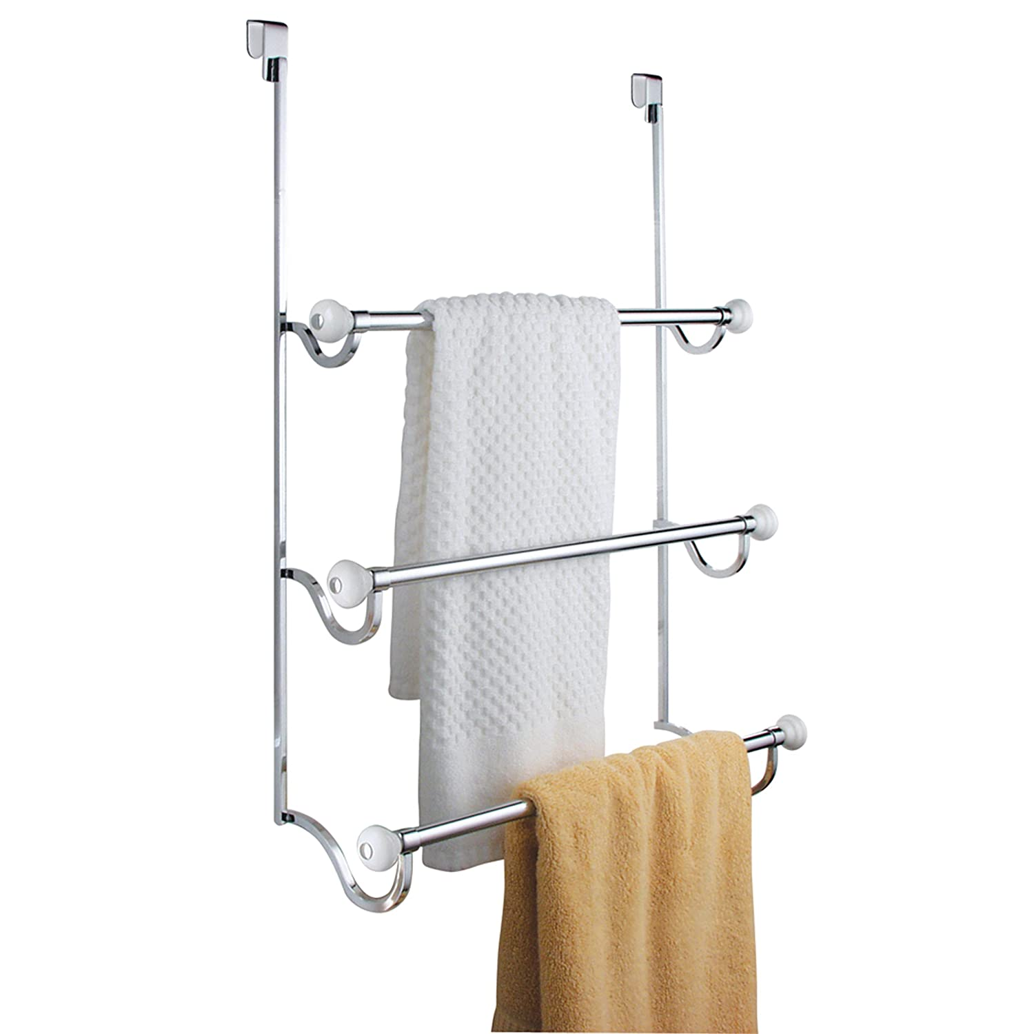 Interdesign York Over The Shower Door 3 Bar Towel Rack White And Chrome New Ebay