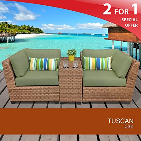 Tuscan 3 Piece Outdoor Wicker Patio Furniture Set 03b Cilantro 2 Yr Fade Warranty