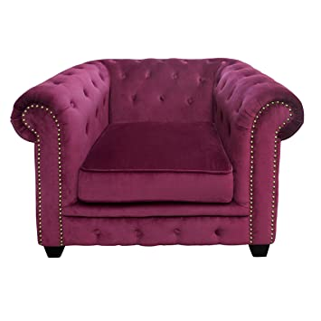 Premier Housewares Regents Park Chesterfield Chair - Damson