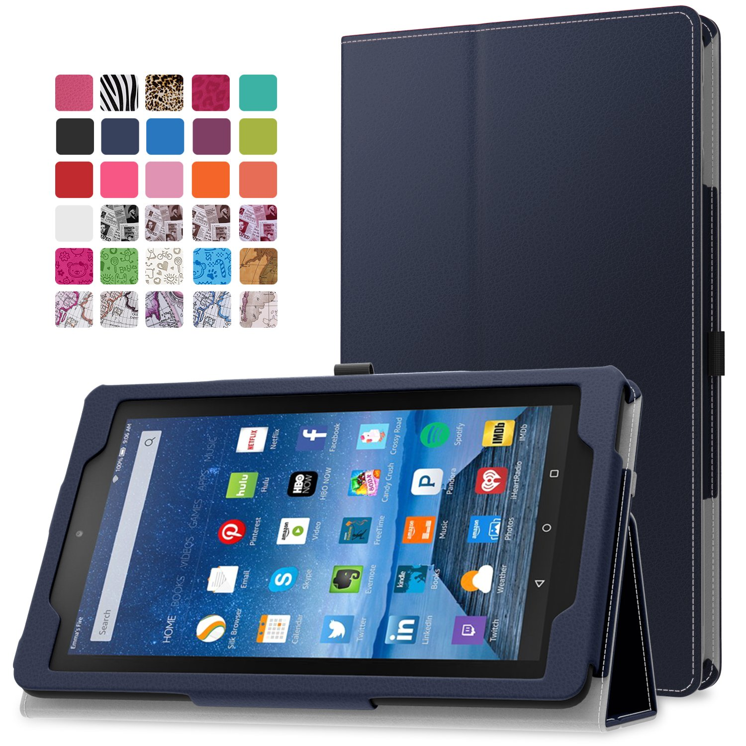 MoKo Fire 7 2015 Case - Slim Folding Cover for Amazon Fire Tablet (7 inch Display - 5th Generation, 2015 Release Only), INDIGO