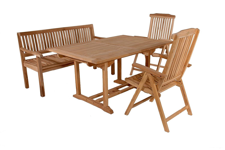 SAM® Teak Holz Gartengruppe Gartenmöbel Solo 4tlg, 1 x Tisch Caracas + 2 x Stuhl Solo + 1 x Sitzbank