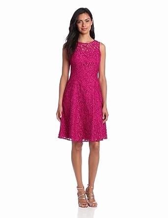 Adrianna Papell Women's Seam Full Skirt Lace Dress, Crushed Berry, 6