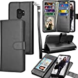 Tekcoo Compatible for Galaxy S9 Wallet Case/Samsung Galaxy S9 PU Leather Case, Luxury ID Cash Credit Card Slots Holder Carrying Folio Flip Cover [Detachable Magnetic Hard Case] & Kickstand -Black (Color: Black)