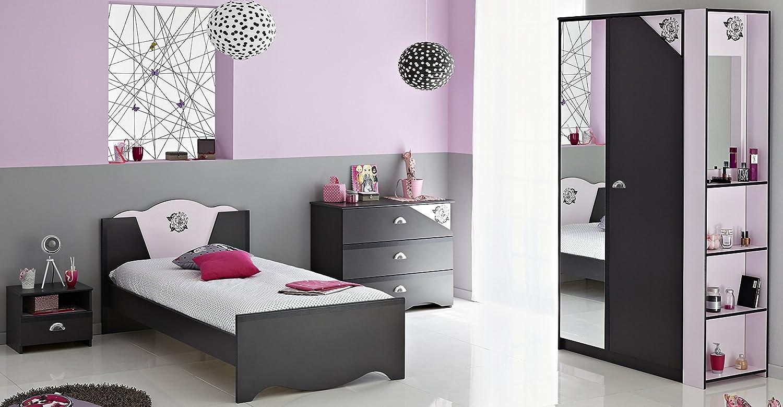 Jugendzimmer mit Bett 90 x 200 cm Dark grey/ rosa