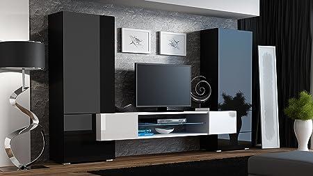 """BMF """"Torro"""" Wohnwand TV-Unterschrank TV-Ständer mit LEDs, Glas-Regal Hochglanz-Optik schwarz / weiß"""