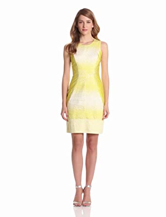 Vince Camuto Women's Shift Dress With Geomtric Seaming, Scatter Yellow, 10