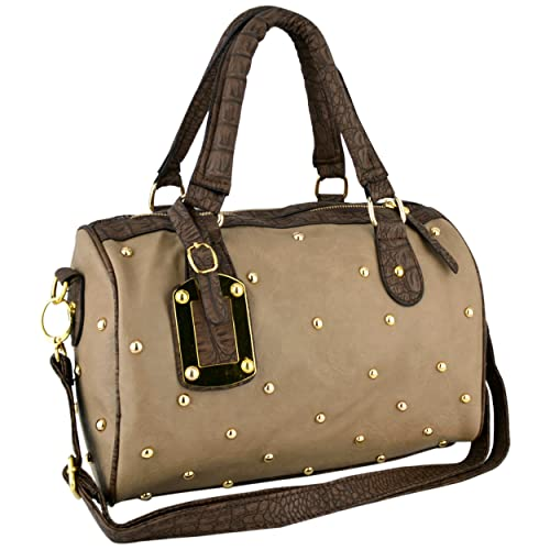 MG Collection Prita Studded Faux Crocodile Bowler Shoulder Bag