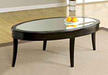 Furniture of America Galen Coffee Table with Beveled Mirror Glass Top, Dark Walnut Finish