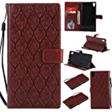 Xperia XA1 Ultra Wallet Case,Xperia XA1 Ultra Flower Case,HAOTP Mandala Rattan Flower Embossed PU Leather Magnetic Flip Card Holders & Hand Strap Purse Case for Sony Xperia XA1 Ultra Brown (Color: Brown, Tamaño: Sony Xperia XA1 Ultra)