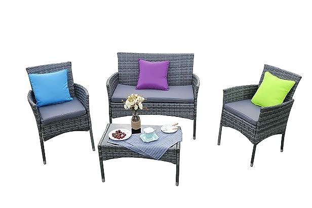 Yakoe Eton gamma esterna divano mobili da giardino in rattan, grigio, 106x 59x 48cm