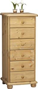 Steens Max 6 Drawer Narrow Pine Chest of Drawers, Lyed Oil Finish       Customer reviews and more description