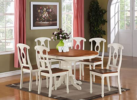 East West Furniture KENL7-WHI-W 7-Piece Dining Table Set