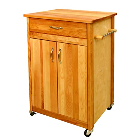 Upgrade Your Kitchen with This Mobile Kitchen Cart. Classic Hardwood Base with a Hardwood Top. Very Convenient for Storage. Scented Tart Included