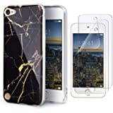 IDWELL iPod Touch Case with 2 Screen Protectors, iPod 7 iPod 6 iPod 5 Marble Case, Slim FIT Anti-Scratch Flexible Soft TPU Bumper Hybrid Shockproof Protective Case for iPod Touch 5/6/7th, Black Marble (Color: Black Marble)