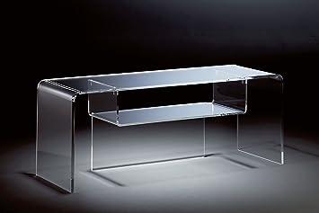 Console TV / TV-Rack en acrylique haute qualité, transparent, 110 x 33 cm, H 38 cm, l'épaisseur de l'acrylique 8/12 mm