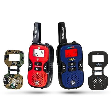 Go Talkie Ensemble de 2 portables portables à longue portée et 4 pompes interchangeables de police, d'espionnage, de pompier, de soldat à thème avec lampe de poche, écran LCD Radio Walkies Children play