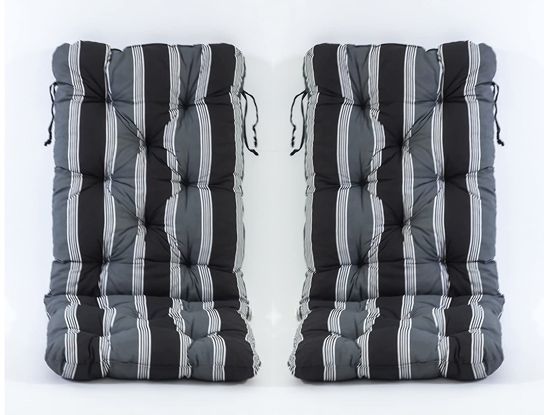 2er set auflage hochlehnerkissen polsterauflage sitzkissen gartenstuhlauflage in schwarz grau. Black Bedroom Furniture Sets. Home Design Ideas