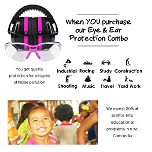 TRADESMART Pink Shooting Earmuffs & Clear Safety Glasses - 2 Piece Gun Range Safety Kit. Designed for Complete Protection & Style. Compact Design Fits in Hunting Bag. 20% of Profits Support Charity (Color: Hot Pink)