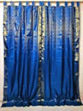 Brocade Silk Sari Curtains Drapes Panel India Home Decor