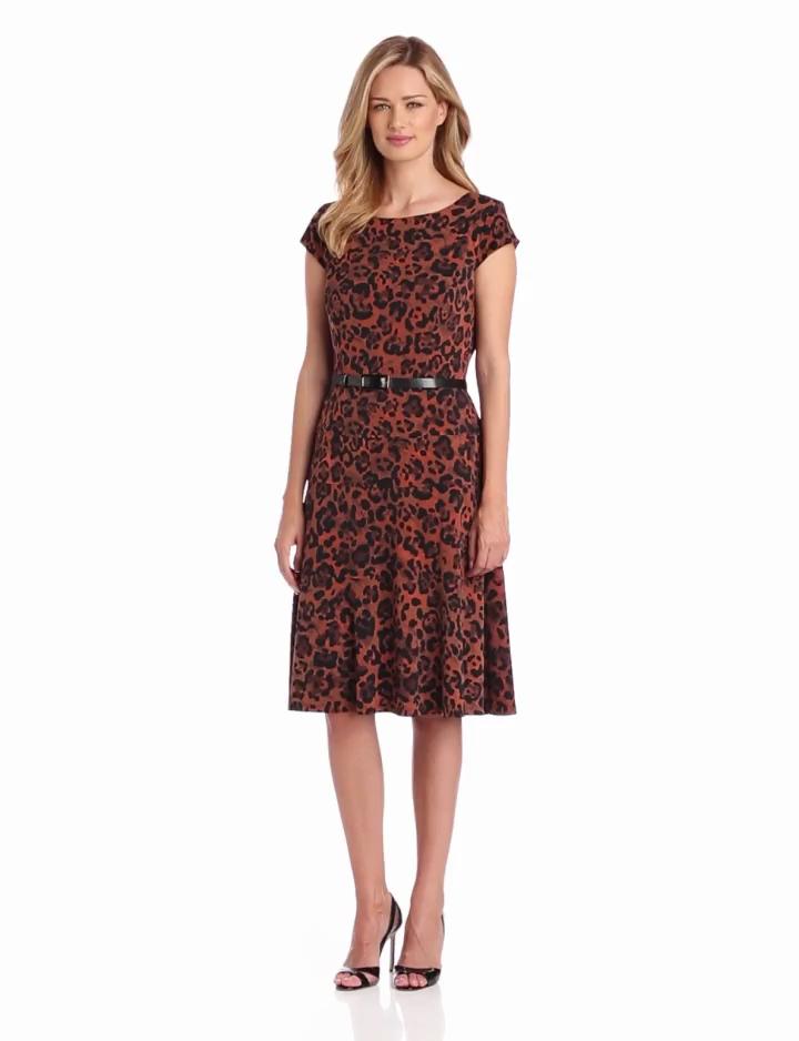 Anne Klein Womens Cap Sleeve Leopard Print Dress