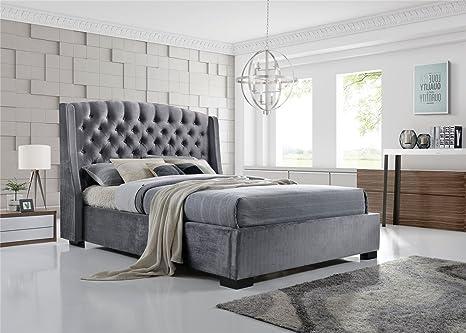 Brando Ohrensessel Chesterfield King Size-Bett 5ft 150cm grau Samt Stoff