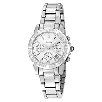 Amazon.com: Bulova Women's 96R127 24 Diamond Case Silver And White ...