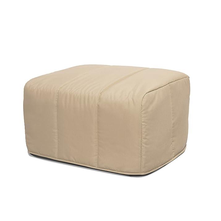 Nessuna poufcubo/LB letto pieghevole convertibile in pouf cuciture linea tessuto beige 85x 65x 45cm