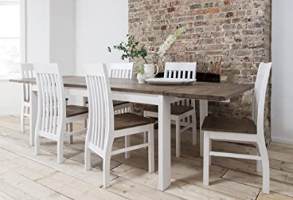 Hever Dining Table with 6 Chairs in White and Dark Pine Extendable with 2 x Extensions Noa & Nani