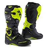 TCX Comp EVO Michelin Black/Flouescent Yellow Offroad Motorcycle Boots - 9661 44 / 10 (Color: Black/Hi Viz Yellow, Tamaño: 44 Euro/10 USA)