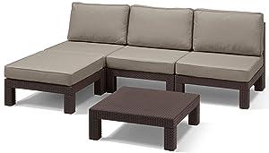 Allibert 212361 Lounge Set Nevada, Rattanoptik, Kunststoff, braunÜberprüfung und weitere Informationen