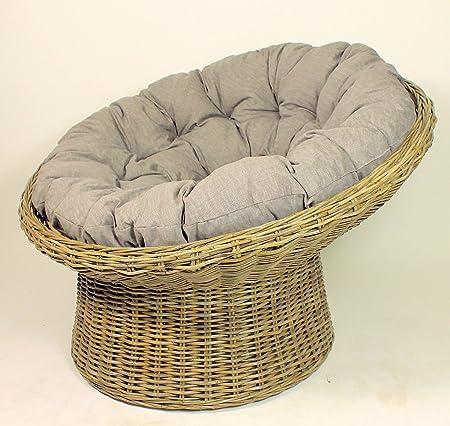 XXL Rattansessel , Rattan Papasan Sessel inkl. hochwertigen Loneta Polster , D 110 cm , Fb. Rattan koobo gray