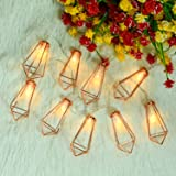 Omika 20 LED Rose Gold Geometric Fairy Lights - USB & Battery Powered, Boho Metal Cage Bedroom String Lights for Wedding Decorations Party Indoor Patio Camping Wall Decor, 10 Ft/3m (Color: Rose Gold 20 LED)