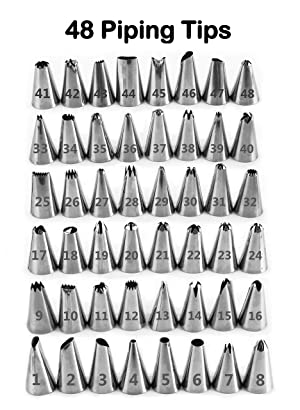 Piping Tips and Bags - 100 Piece Cake and Cupcake Decorating Bundle with 48 Pastry Nozzles, Icing Tips Case, Couplers, Reusable Silicone and Disposable Frosting Bags and Icing Tips Chart! (Tamaño: 100 Piece Tips Set)