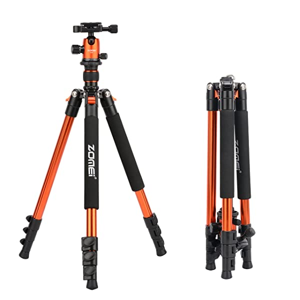 ZOMEi Q555 Lightweight Alluminum Alloy Camera Tripod with 360 Degree Ball Head + 1/4 Quick Release Plate For Canon Nikon Sony Samsung Panasonic Olympus Fuji DSLR And Camcorders(Orange) (Color: Q555-Orange)