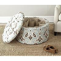 Safavieh Tanisha Shoe Ottoman (Light Blue/White/Brown Linen/Cotton)