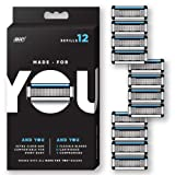 Made for YOU by BIC Shaving Razor Blades for Men and Women, 12-Count - Refill Cartridges with 5 Blades for a  Close Shave with Aloe Vera and Vitamin E for Smooth Glide (Color: Refill, Tamaño: 12 Count)