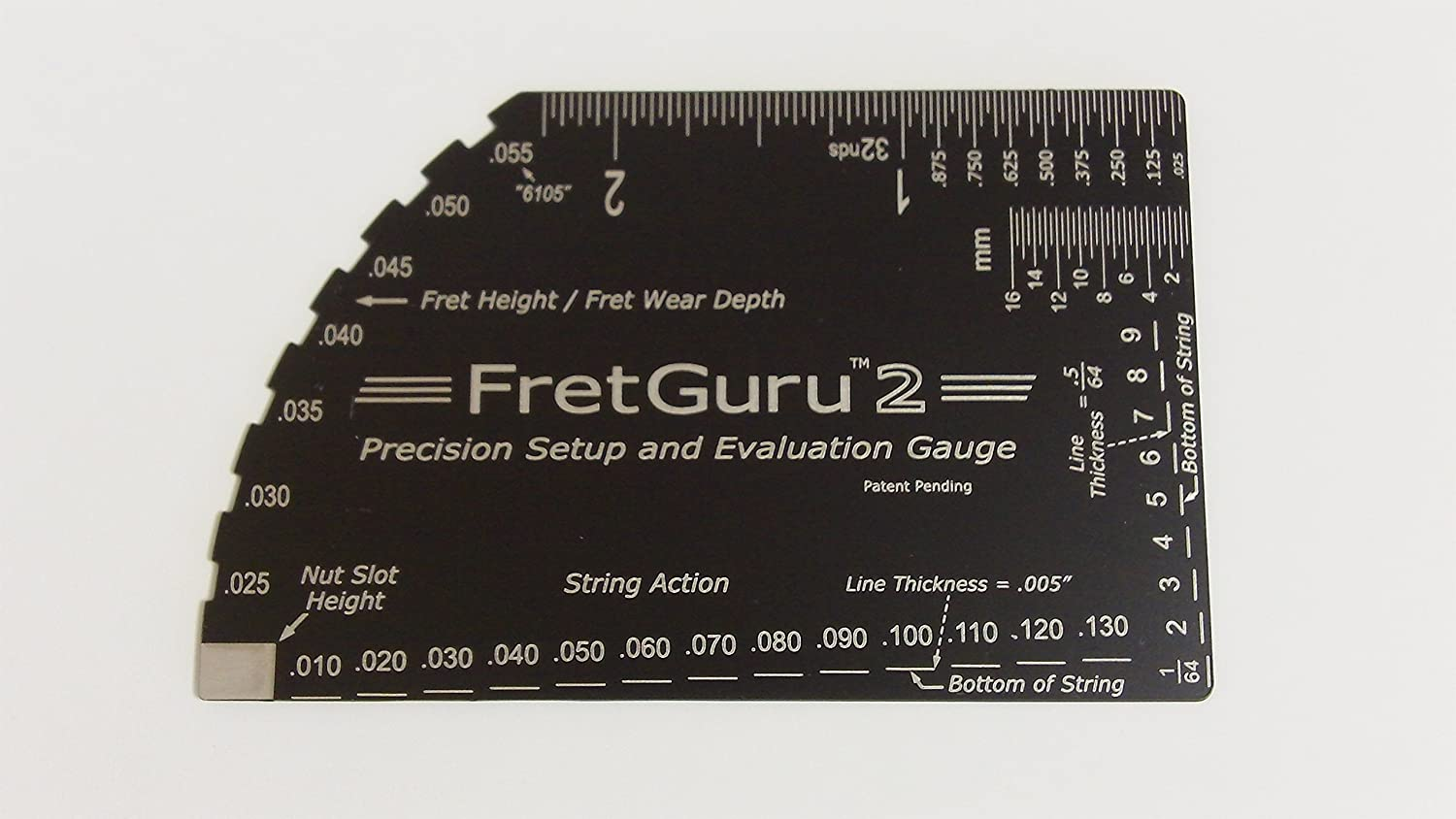 FretGuru 2 Precision 8-in-1 Guitar String Action Gauge Fret Rocker Setup