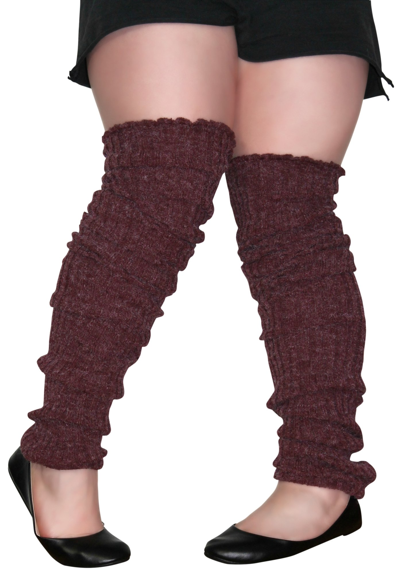 98ddfb3f500 Plus Size Leg Warmers BURGANDY Over The Knee Super Long Cable Knit Leg  Warmer ...