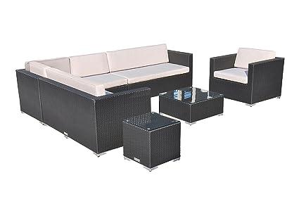 VILLANA exklusive Loungegruppe aus hochwertigem Polyrattan in schwarz, Kaffeetisch mit Glasplatte 65 x 65 x 30 cm, inkl. Polster, Gartenlounge fur 7 - 8 Personen, Sessel, Couch, Hocker, wetterfest