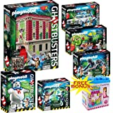 PLAYMOBIL Ghostbusters Mega Set; Includes Firehouse, Ecto-1, Puft Marshmallow Man, Slimer w/ Hot Dog Stand, Venkman & Terror Dogs & Spengler and Ghost w/ FREE BONUS Dimple Ice Cream Building Block Set