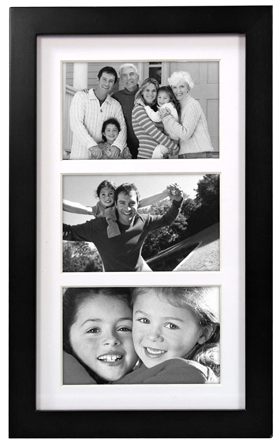 Malden Linear Wood Matted 4×6 Collage Black Picture Frame –